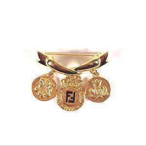 Fendi Gold Coin Ribbon Brooch Vintage